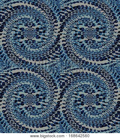 Abstract geometric seamless background. Regular ornate spiral ornaments in blue gray shades.