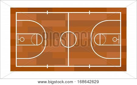 Simple basketball field vector element professional concept. Game competition team recreation. Athletic court champion interior. Win tournament sport leisure.