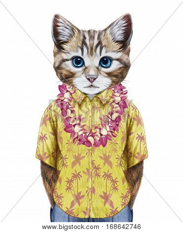 portrait of cat in summer shirt with hawaiian lei. hand-drawn illustration, digitally colored.