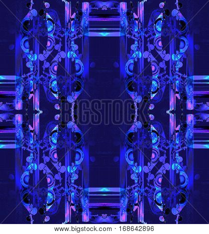 Abstract geometric seamless background. Regular ornaments in violet, purple and blue shades with round elements and stripes, ornate and dreamy.