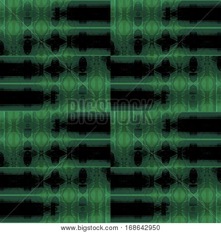 Abstract geometric seamless background. Regular checkered pattern with oval elements in dark green shades and black.