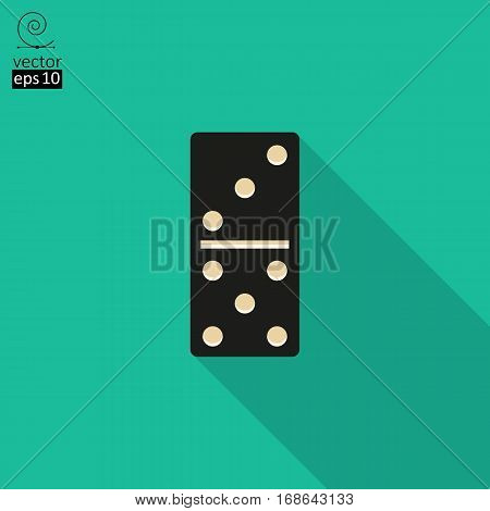vector icon of black domino. flat style