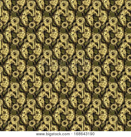 Abstract geometric seamless background. Regular round pattern with pale gold and dark brown elements on olive green, diagonally and curved.