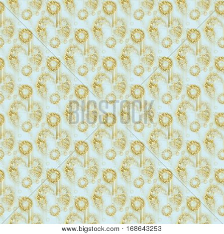 Abstract geometric seamless background. Shiny gems overlaying. Regular round pattern gold, silver gray and beige shades on pastel blue, intricate and dreamy.