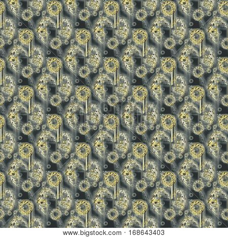 Abstract geometric seamless background. Shiny gems overlaying. Regular round pattern gold and beige on dark gray, intricate and blurred.