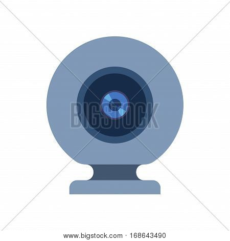 Web camera vector illustration on white. Internet connection conference insight lens device. Video digital equipment virtual photo focus objective.