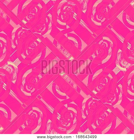 Abstract geometric seamless background. Regular intricate spiral pattern magenta with violet and pink elements overlaying.