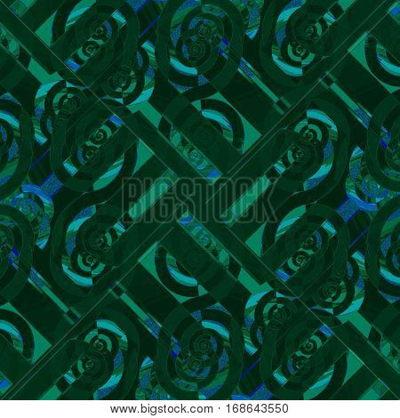Abstract geometric seamless background diagonally. Regular intricate spiral pattern in green shades overlaying with blue elements.