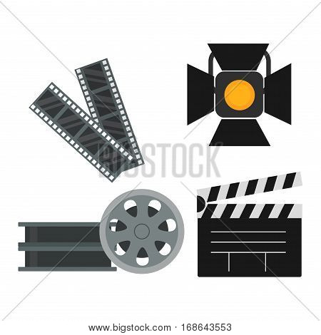 Film cinema technology vector. Twisted movie strip with round box roll illustration. Cinematography roll old art box. Photography equipment.