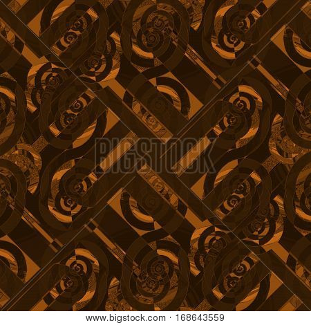 Abstract geometric seamless background diagonally. Regular intricate spiral pattern in brown and orange shades overlaying.