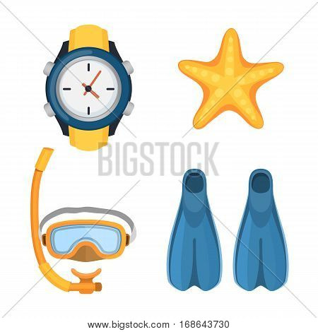 Snorkeling or scuba fins or flippers isolated on white. Underwater swimming deep professional shoe exercise. Water sport footwear equipment vector clock and starfish.