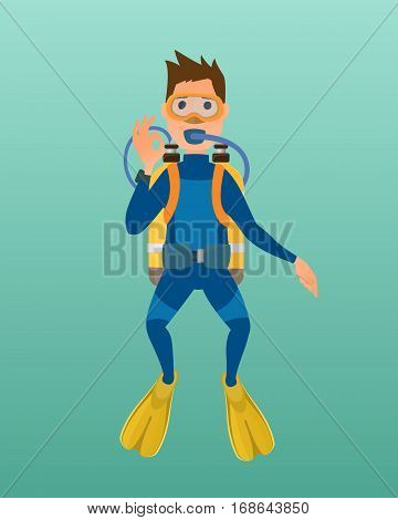 Scuba diver with diving mask, wetsuit and flippers on blue background. Underwater equipment vector illustration. Hobby swimming adventure. Swim travel marine protective swimwear.