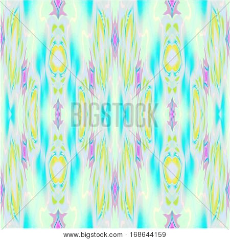 Abstract geometric seamless background single color. Regular ellipses and diamond pattern in turquoise blue, yellow and violet shades.