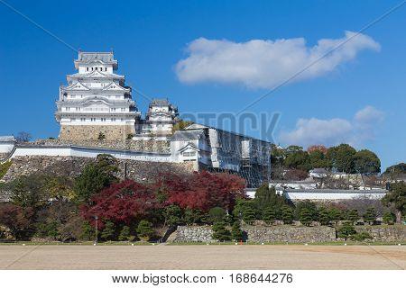 Himeji castle on the sunny day againts blue sky Japan historic landmark