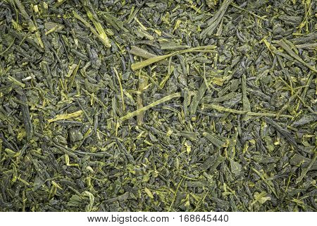background texture of loose leaf Kabusecha  green tea