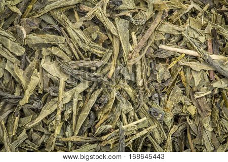 background texture of loose leaf pan fired green tea