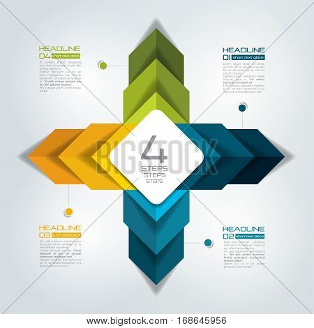 4 steps connected infographic. Vector illustration. Colured image.