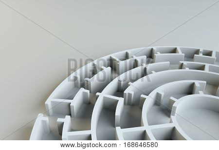 Maze close-up. Gray studio background. Beautiful photo realistic shadows. Background for your desig. 3D Illustration