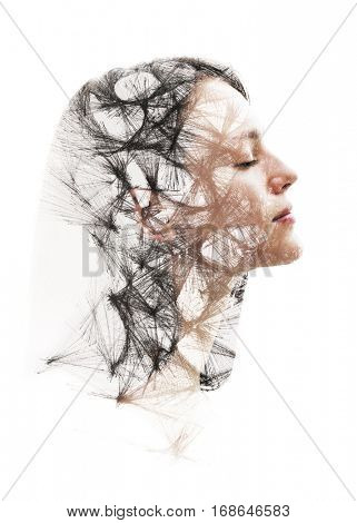 Portrait of a pretty female model combined with hand-drawn geometric structure