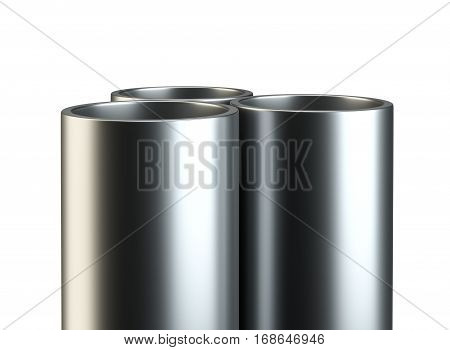 Three metal pipes. Close-up on white background. 3D Rendering