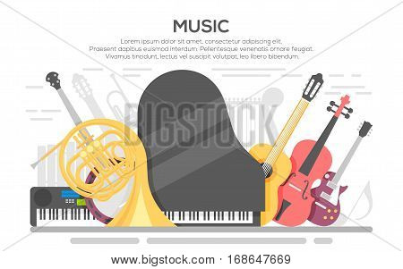Live music vector poster template. Colorful music background. Vector template for a concert poster or a flyer featuring an acoustic guitar, piano, violin.
