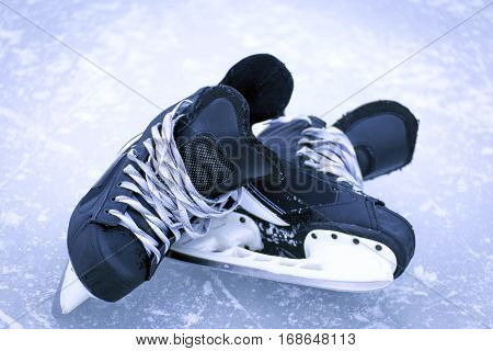 Skates after a game of ice hockey.