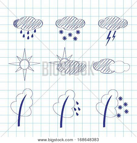 Set of icons of weather on a writingbook leaf, a vector sketch