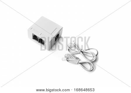 Closed up telephone line splitter with RJ-11 telephone cable