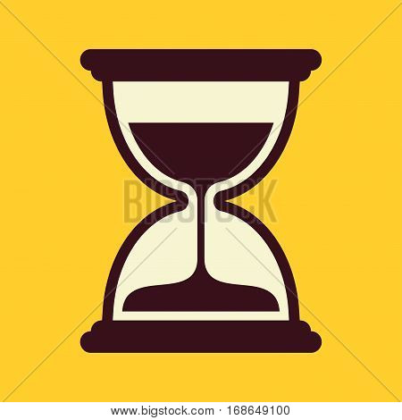 Sand timer. Vector icon isolated on yellow background.