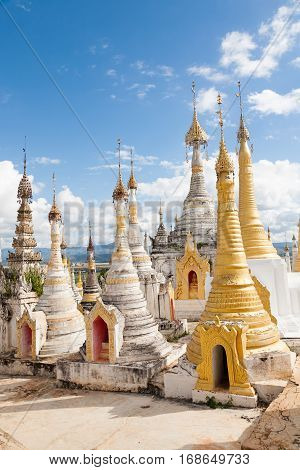A site on a hill in the village of Thaung Tho in the Shan state of Burma on the Inle Lake filled with many stupas