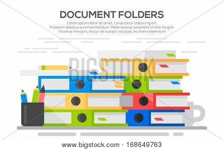 Stack of papers. Colorful binders. Paper work office routine bureaucracy concept. Flat design.