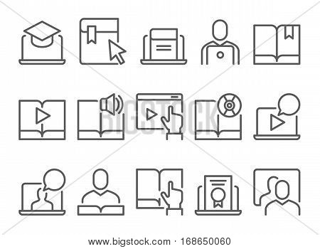 Online education e-learning icons. Tutorial training icons. Book Icons.