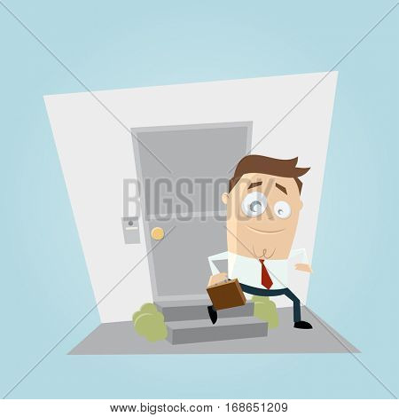 funny businessman leaving home