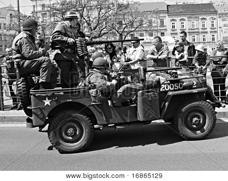 US army veteran in military vehicles - Pilsen City Czech Republic Europe - Anniversary ends second world wars