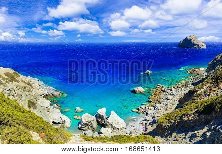 Impressive wild beaches of Amorgos island - Agia Anna. Greece
