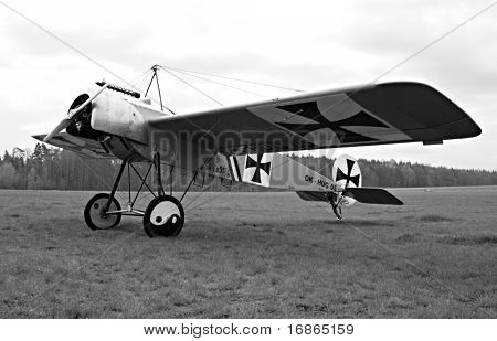 Historic plane Fokker in airport Plasy - Czech Republic Europe