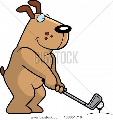 Cartoon Dog Golfing