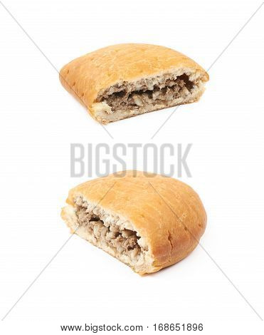 Half of a meat pie isolated over the white background, set of two different foreshortenings