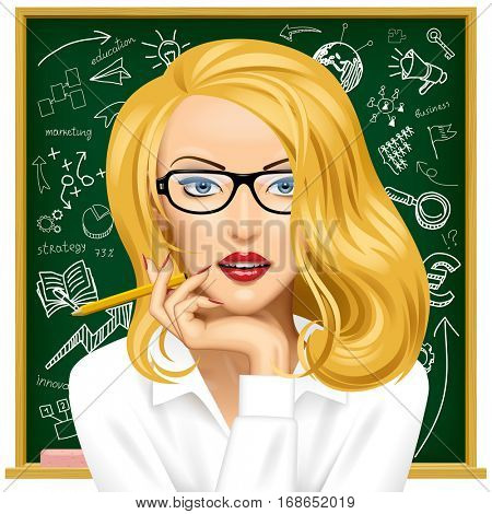 Face of a pretty blonde business woman in glasses near the blackboard with hand drawn business icons. Education concept vector illustration