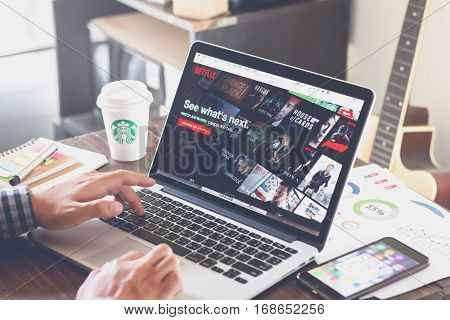 BANGKOK THAILAND - march 5 2017 : Netflix app on Laptop screen. Netflix is an international leading subscription service for watching TV episodes and movies.