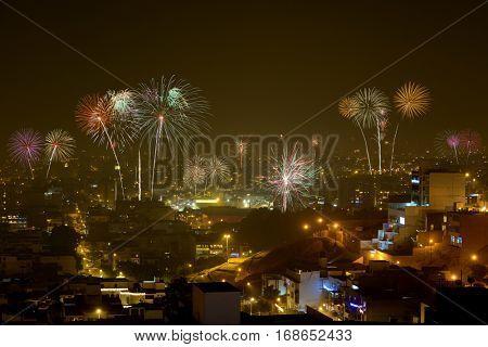 Fireworks over Lima, Peru during Christmas