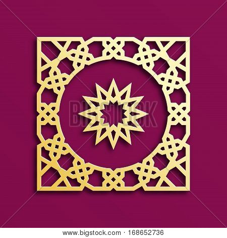 Vector muslim mosaic persian motif. Mosque decoration element. Islamic golden geometric pattern. Elegant gold oriental ornament traditional arabic art. 3D illustration for brochures greeting cards