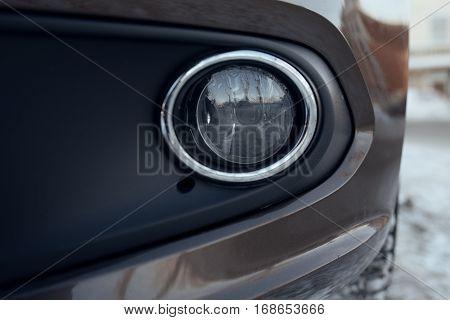 front fog car glass lamp close up