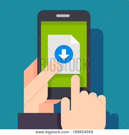 File download button on smartphone screen. Hand holds smartphone, finger touches button. Downloading document concept for web banners, web sites, infographics.