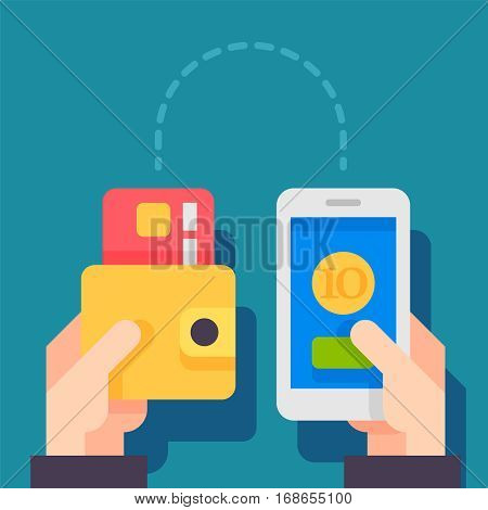 People sending and receiving money wireless with mobile phone. sending money from credit card via mobile phone. Mobile money transfer. Modern flat style concept vector illustration