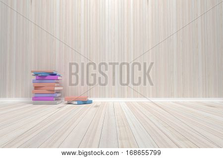 Empty interior room with wooden floor and books For display of your products. - 3D render image.