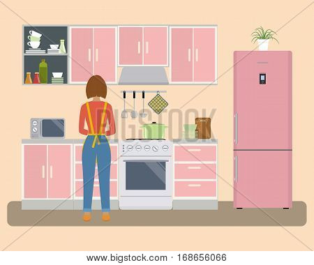 Kitchen in a pink color. There is a woman near the stove prepares food. There is a refrigerator, a kitchen furniture, a microwave and other objects in the picture. Vector flat illustration