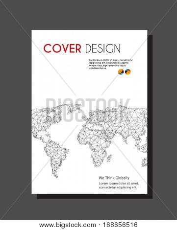 Brochure with world map easy all editable