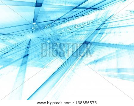 Abstract background element. Fractal graphics series. Three-dimensional composition of repeating grids. Information technology concept. Blue toned image over white.