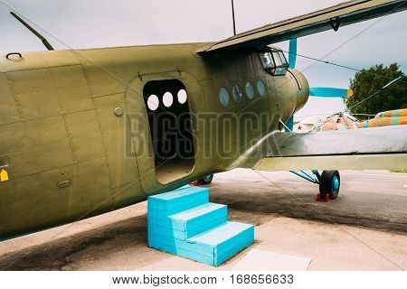 Old Soviet Plane Paradropper Aircraft. Outdoor. Nobody